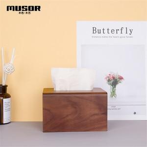 Image 3 - Face towel tray solid wood paper box box napkin box hotel restaurant bedroom wooden tissue box