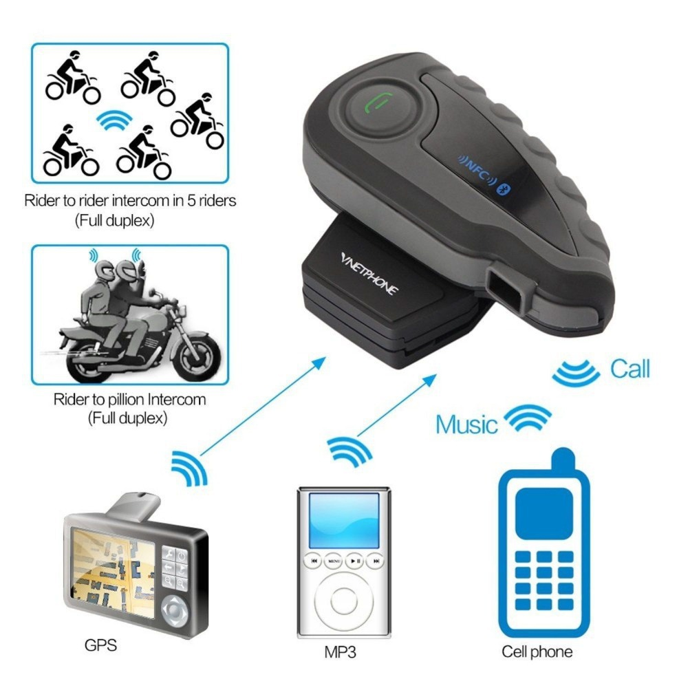 V8 1200 M Moto BT Bluetooth del Citofono del Casco Auricolare Interfono Con Telecomando FM 5 Riders Intercomunicador