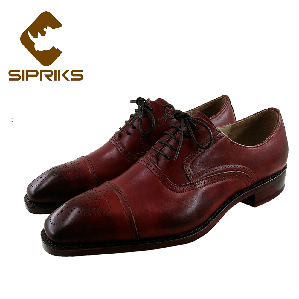 Sipriks Mens Goodyear Welted Dress Shoes For Men Italian Handmade Male Wedding Shoes Vintage Oxfords Cap Toe Boss Work Office цена 2017