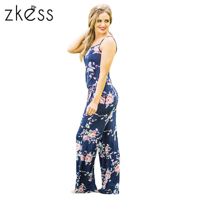 6af0e58ae680 ZKESS Summer Jumpsuit Women Floral Wide Leg Rompers Spaghetti Strap ...