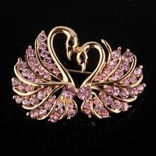 Broche de cisne de cristal lindo horquillas de color oro amantes de los animales broches con diamantes de imitación para las mujeres boda bufanda joyería pin de solapa Vintage