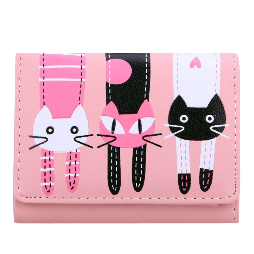 2017 High quality Brand Lovely Cat Wallet Women Short PU Soft Leather Wallet Female cat Candy Color Hasp Purse carteira feminina in Wallets from Luggage Bags