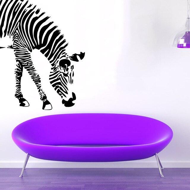 ZOOYOO Zebra Eating Wall Stickers Jungle Safari Wild Animals Vinyl Wall Decals Art Design Removable Living Room Decor