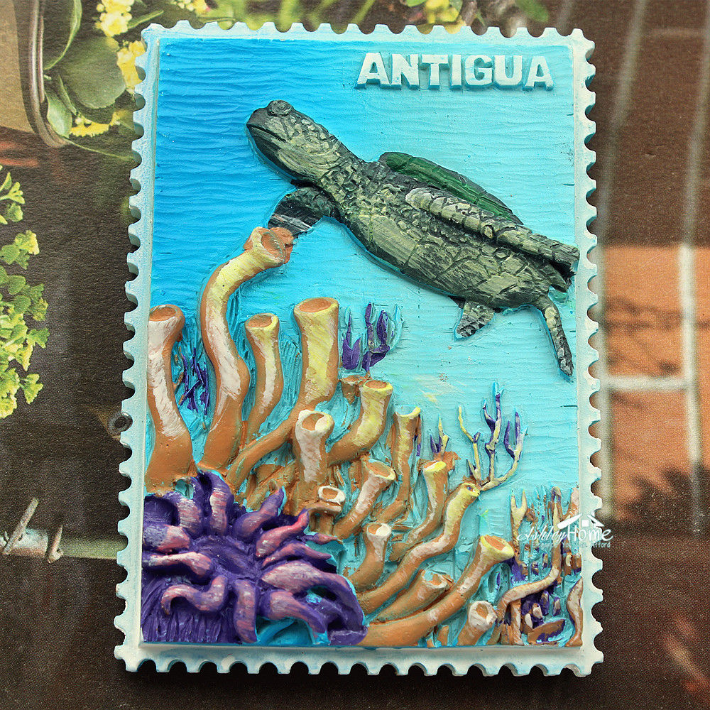 Sea Turtle, ANTIGUA Caribbean Sea Tourist Travel Souvenir 3D Resin Decorative Fridge Magnet Craft GIFT IDEA