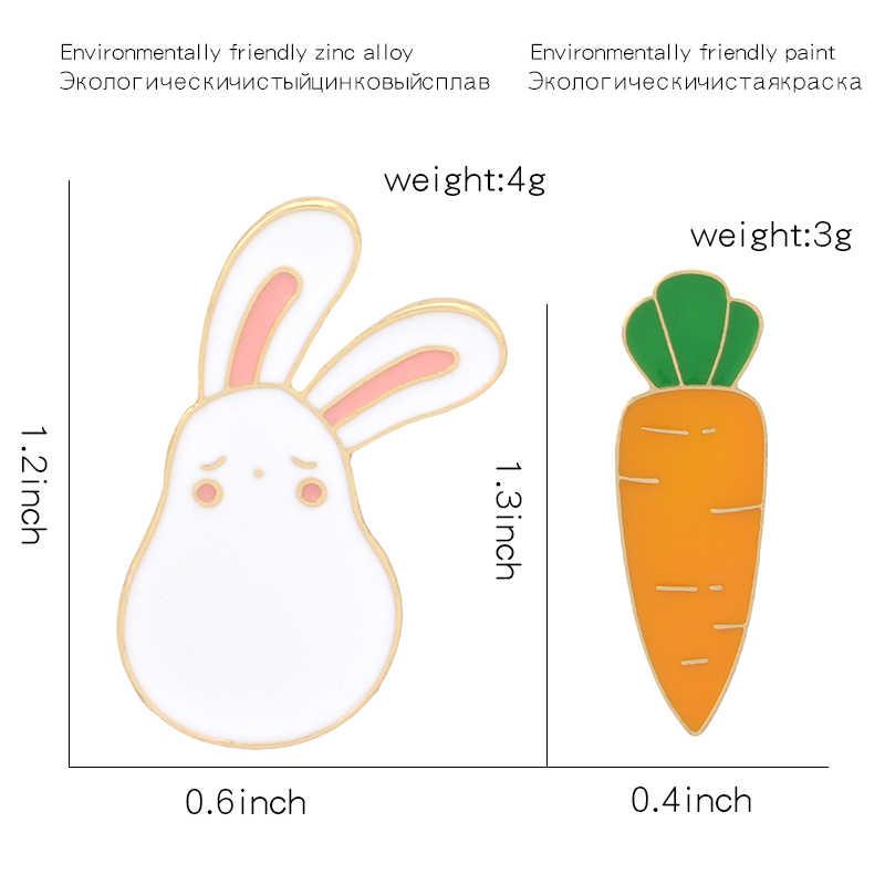 Милый кролик с морковкой эмалированный значок с героем мультика бижутерия броши с растительными мотивами Женские аксессуары подарок для милых девушек