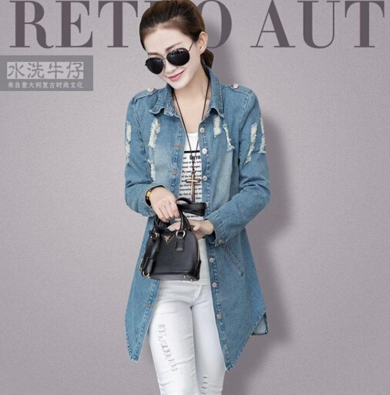 2015 women's spring denim outerwear female plus size casual medium long autumn jackets S-3XL - Working For Customer store