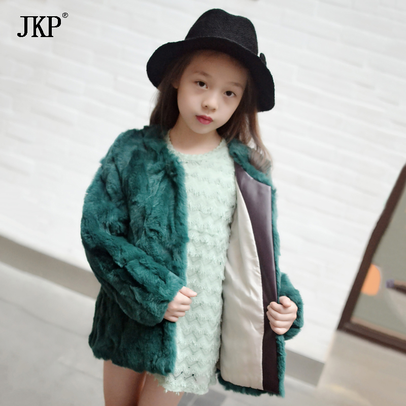 JKP 2018 new Real Rex Rabbit fur Thick Fashion Girl Jackets winter luxury rabbit fur coats Children plush Outerwear CT-25 winter kids rex rabbit fur coats children warm girls rabbit fur jackets fashion thick outerwear clothes