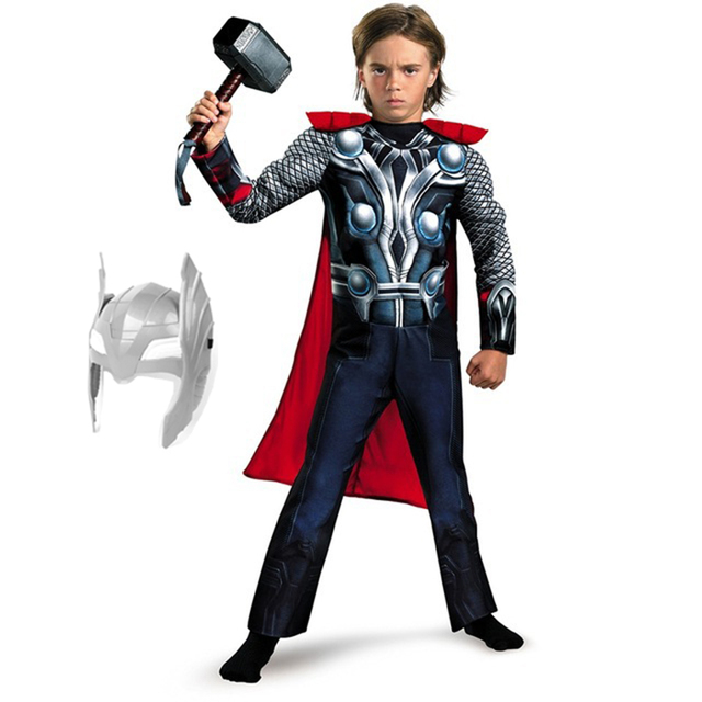 Halloween Thor Kid Costumes with Mask and Hammer Light&Voice