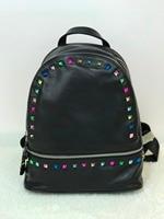 2017 New Backpack Soft Genuine Leather Women Backpack Black Fashion School Color Rivet Backpack Luxury Women