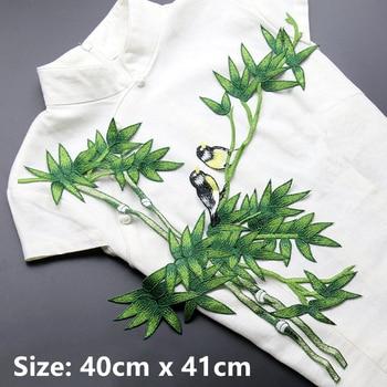 Большой зеленый бамбук с птицей вышитые патчи для Одежда пришить DIY аппликация вышивка цветок, украшение дома аксессуары