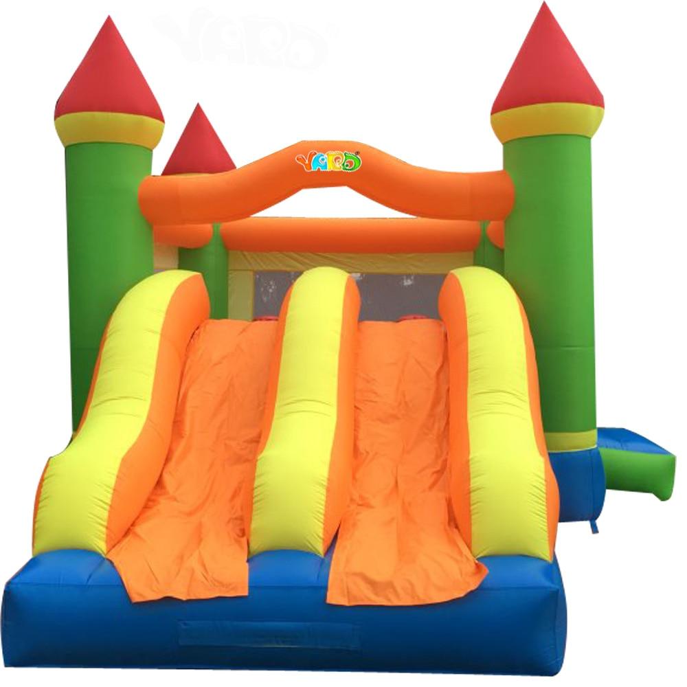 YARD Riesen Hüpfburg 6.5x4.5x3.8M Aufblasbares Trampolin in Übergröße mit Doppelrutsche im Innenhof Kids Jumping Castle
