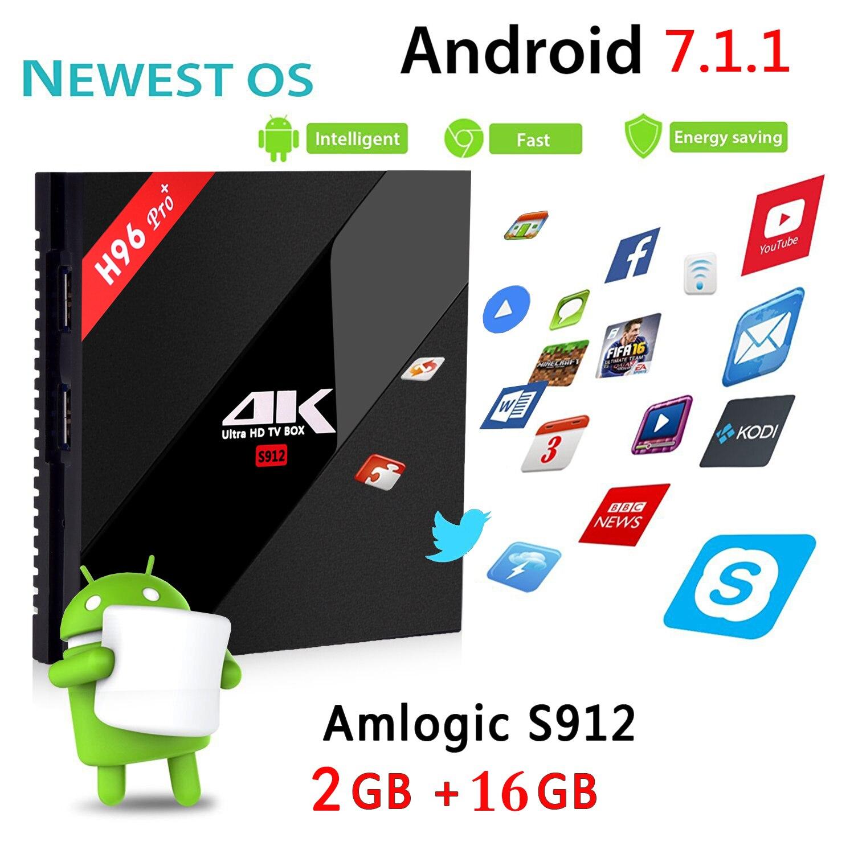 H96 Pro 4K H.265 Amlogic S912 Android 7 TV Box 2.4G/5G WiFi décodeur intelligent 8 core lecteur multimédia double Wifi Tv BOX pour IPTV HDMI