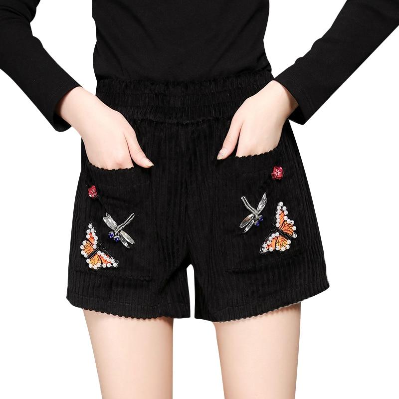 Dapper Dragonfly Vlinder Kralen Zwarte Broek Vrouwen Elastische Taille Applique Losse Casual Shorts Zomer Mini Korte Broek Voor Vrouwen Aantrekkelijke Ontwerpen;