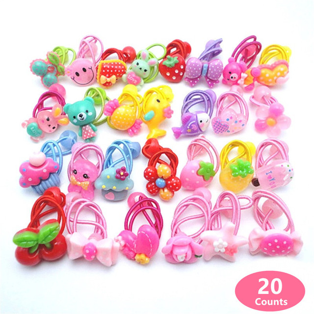 20 Pcs (10 pairs) Cartoon Candy Color Girls' Elastic Hair ties Girl's Ponytail Holder Kids Hair Accessories PT069
