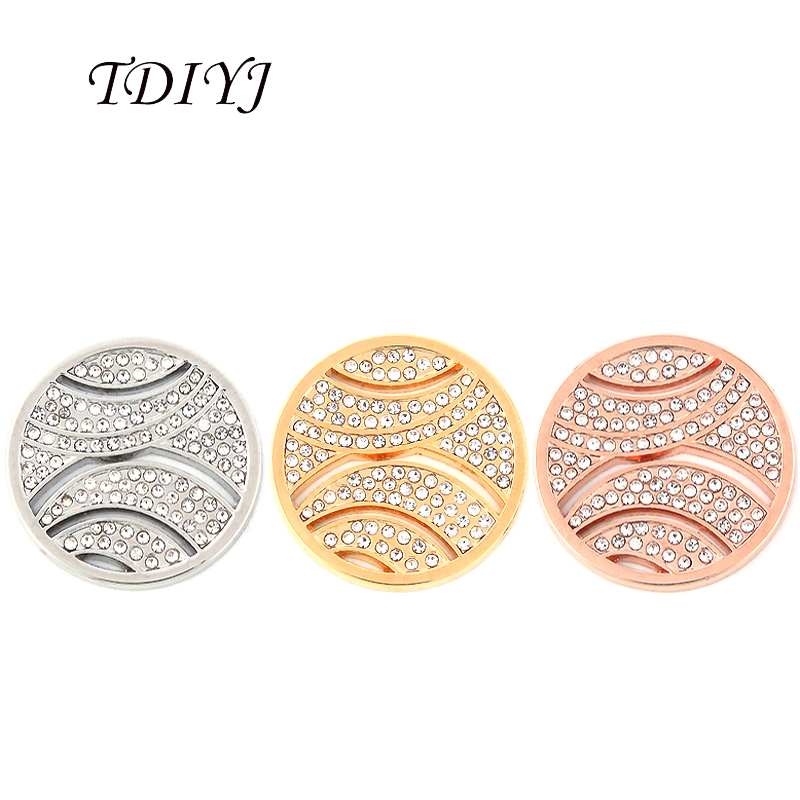 TDIYJ Beautiful Tennis Shape 25mm Ball Coin Disc with Big Crystals for My Coin Necklace as Women Jewelry Gifts 6Pcs/lot
