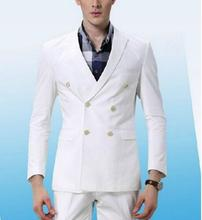 MS26 2017 Custom Made White Men Double Breasted Suit Groom Groomsmen Tuxedos Wedding Business Suit Ternos