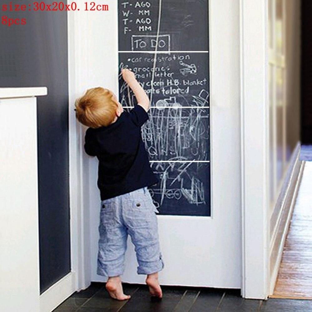 8Pcs 30*20cm Removable Black Board Wall Stickers Decals Home Office Decorative Black Board Chalkboard Sticker Schook Supplies