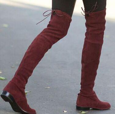nuovo stile 3bf9f ad9e5 US $80.04 42% di SCONTO|2017 lowland sopra gli stivali al ginocchio vino  nero camoscio grigio stivali alti donna street style delle donne stivali ...