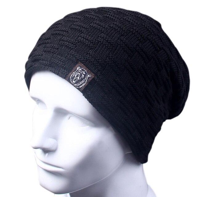 Casual Brand Men Winter Hat Beanie Hats Fur Warm Baggy Knitted Skullies  Bonnet Ski Sports Adult Cap New Arrival Beanies a3a99737ea79
