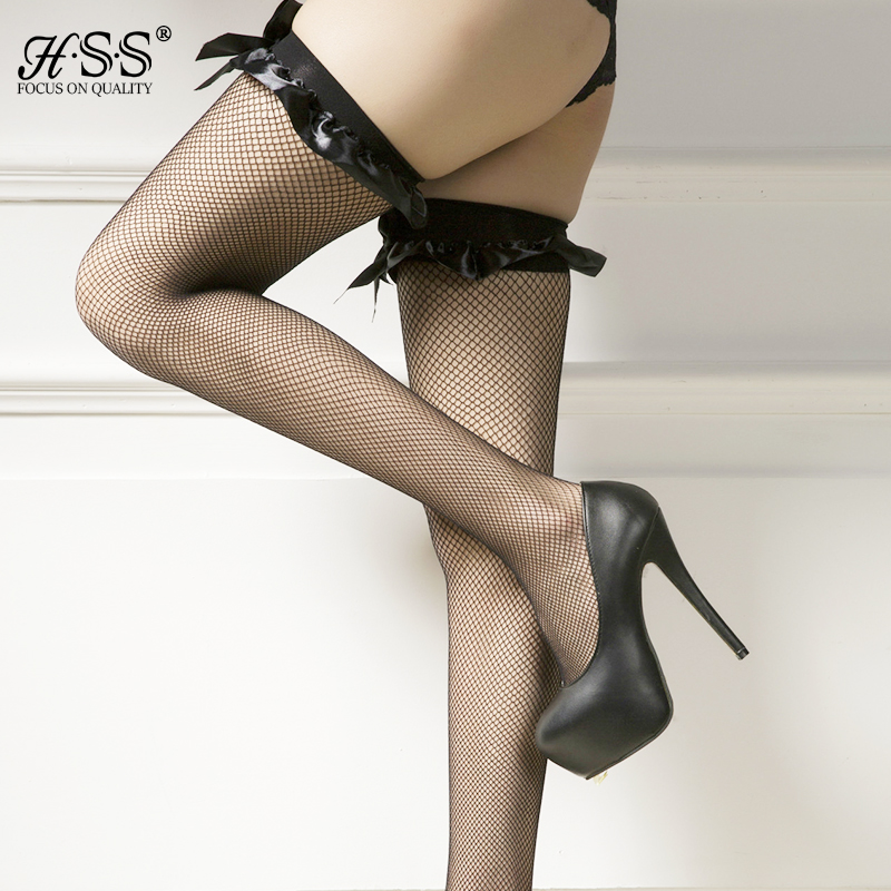 Tirain sexy womens lace top silk mesh stockings bow fishnet style thigh high
