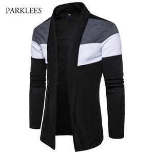 Shawl Collar Cardigan Men Pull Homme 2017 Fashion Autumn Slim Fit Long Mens Cardigans Casual Hit Color Knitted Cardigan Sweater(China)