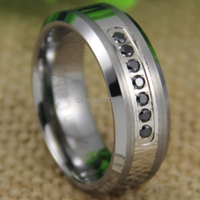 Free Shipping USA UK CANADA RUSSIA Brazil Hot Selling 8MM With 7pcs Black CZ Stones Silver Bevel The Lord Tungsten Wedding Ring