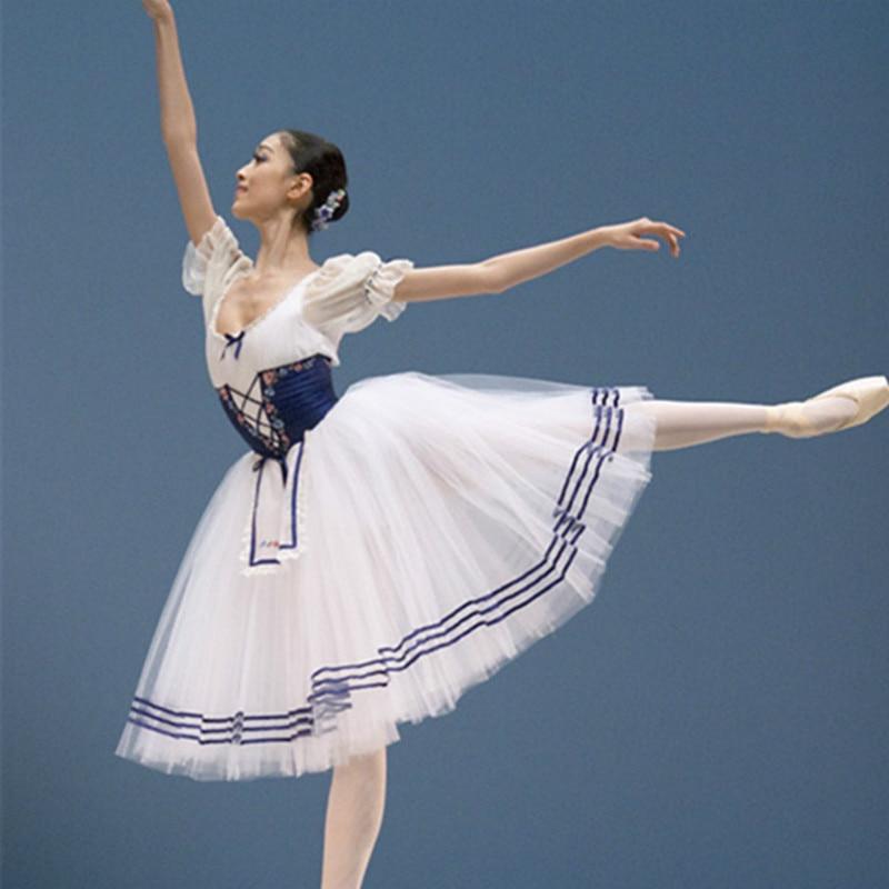 Clásico corto Puff manga Giselle Ballet traje adulto mujeres largo vestido de leotardo de Ballet profesional tutú niñas Ballet ropa