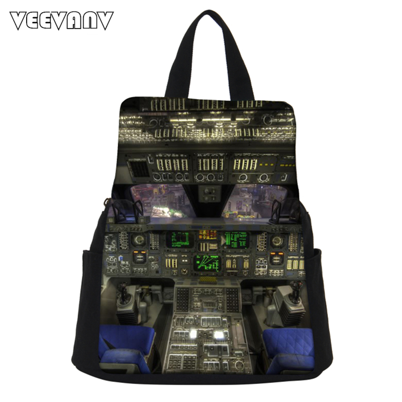 VEEVANV Aircraft Module Printing Backpack Women Backpack School Bag Girls Personality Canvas Backpack Female Shoulder Bag