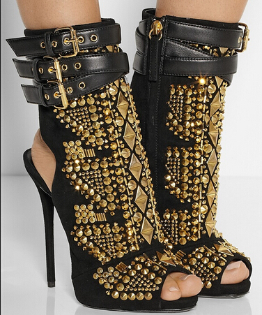 2e1710edd29 Black Suede Peep-toe Booties Embellished With Gold Studs Triple Wrap-around  Stiletto Heel Leather Straps Gladiator Ankle Boots