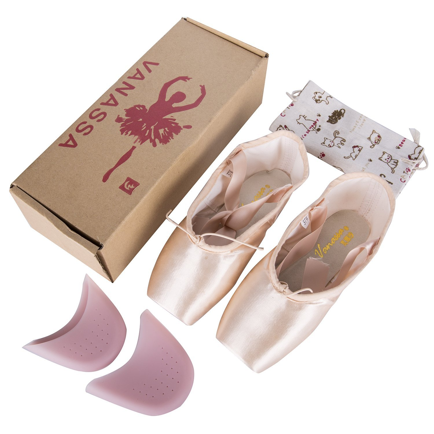 WENDYWU Professional Ballet Slipper Dance Shoe Pink Ballet Pointe Shoes with Toe Pad Protector for Girls colorful ballet pointe shoes silky satin material beautiful colors professional ballet dance pointe shoes