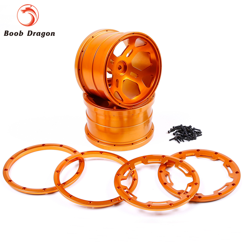цена на Monster Truck CNC Metal Wheels Hub With Alloy Beadlocks Set For 1/5 FG Rovan BM RC Car