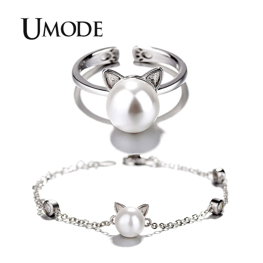 043d0c549864f Details about Cute Cat Ear Pearl Adjustable Rings Chain Bracelets Jewelry  Sets For Kids Girls