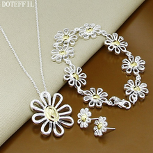 Flower 925 Silver Necklace Bracelet Earrings Woman Charm Jewelry High Quality Fashion