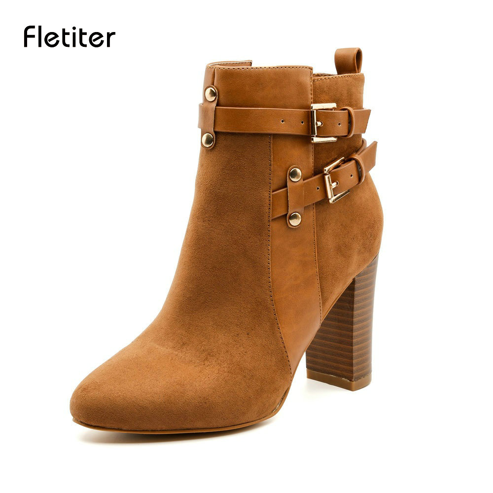 Fletiter 2018 Spring Autumn Women Ankle Boots Female High Heels Lace Up Leather Shoes Woman Double Buckle Platform Fashion Shoes push button switch xb4 series zb4bg2 zb4 bg2 page 2