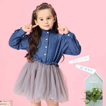Fashion Girls Dress 2019 New Autumn Dresses Children Clothing Princess Dress Cowboy Long Sleeve Mesh Design Kids Girls Clothes long sleeve girls dresses double breasted children denim dress kid spring summer clothing new fashion clothes free drop shipping
