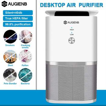 AUGIENB  Purifier Smoke with True Hepa Filter Odor Allergies Compact Purifiers Eliminator for Smoke Dust Mold Home Cleaner