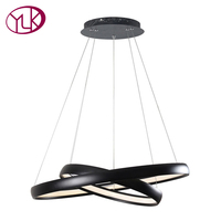 Youlaike Zwart LED Kroonluchter Verlichting Woonkamer Slaapkamer Opknoping Twee Ringen Acryl Verlichtingsarmaturen Woondecoratie Lampen