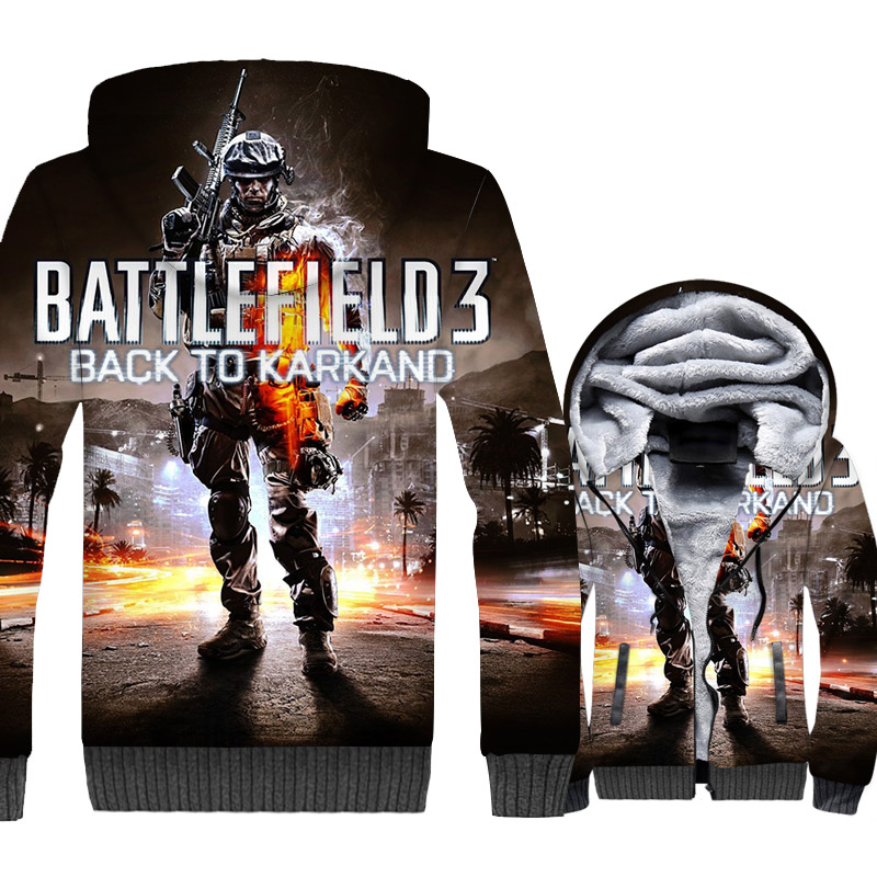 Battlefield 3 Back To Karkaand Jackets 3D Print Hoodie Men Shadow of the Tomb Raider Sweatshirt Winter Thick Fleece Movie Coat