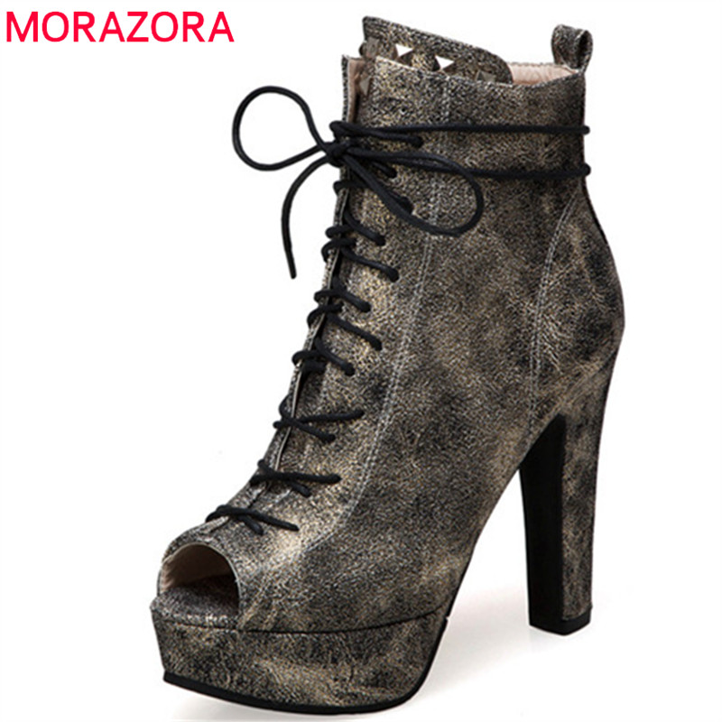 MORAZORA 2019 newest peep toe ankle boots for women pu lace up +zip summer boots fashion high heels platform shoes woman MORAZORA 2019 newest peep toe ankle boots for women pu lace up +zip summer boots fashion high heels platform shoes woman