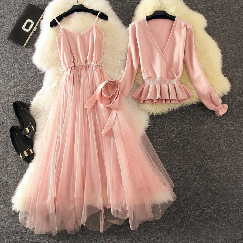 2018 autumn winter new women 2 pieces dress sets sweet V neck knitted sashes sweaters and
