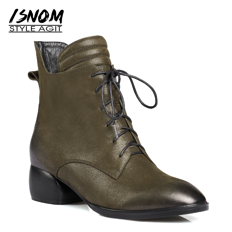 ISNOM Plus Size 34-42 Winter Leather Women Ankle Boots Round Toe Zip Lace Up Footwear Thick Heels Lady Shoes Shoes Women 2018 women boots plus size 34 43 fashion round toe ankle boots zip lady winter boot woman shoes black brown blue sneakers women n229