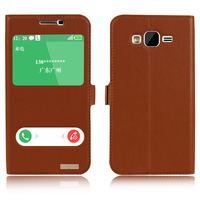 Luxury Natural Genuine Leather Window Flip Stand Cover Case For Samsung Galaxy J5 J500 J500F Luxury