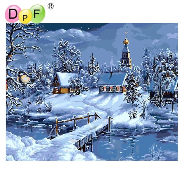Lukisan Minyak Tanpa Bingkai Dpf Rumah Salju Digital Dengan Angka