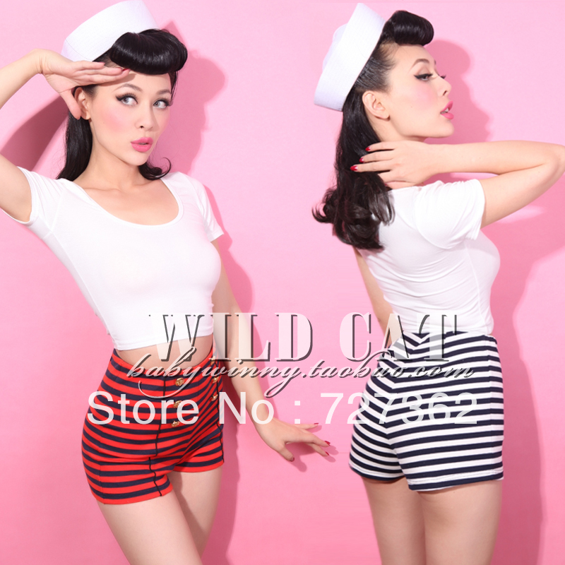 Online Shop Limited edition vintage pin up navy stripe high waist ...