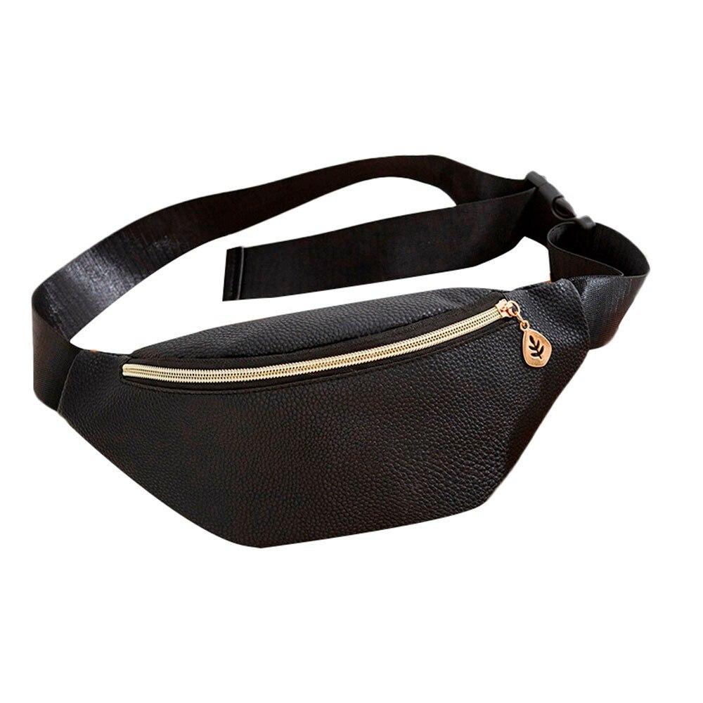 Fashion Men Women Waist Bag Unisex Fanny Pack Pure Color PU Leather Casual Sports Purse Breast Package Messenger Shoulder Bag