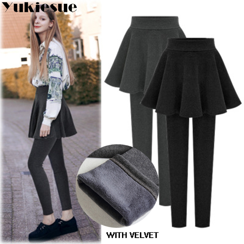 2018 Fleece Lady Warm Skinny Pants For Women Plus Size 5XL 6XL Skirt + Long Trousers Women Black Winter Leggings Fake 2pieces