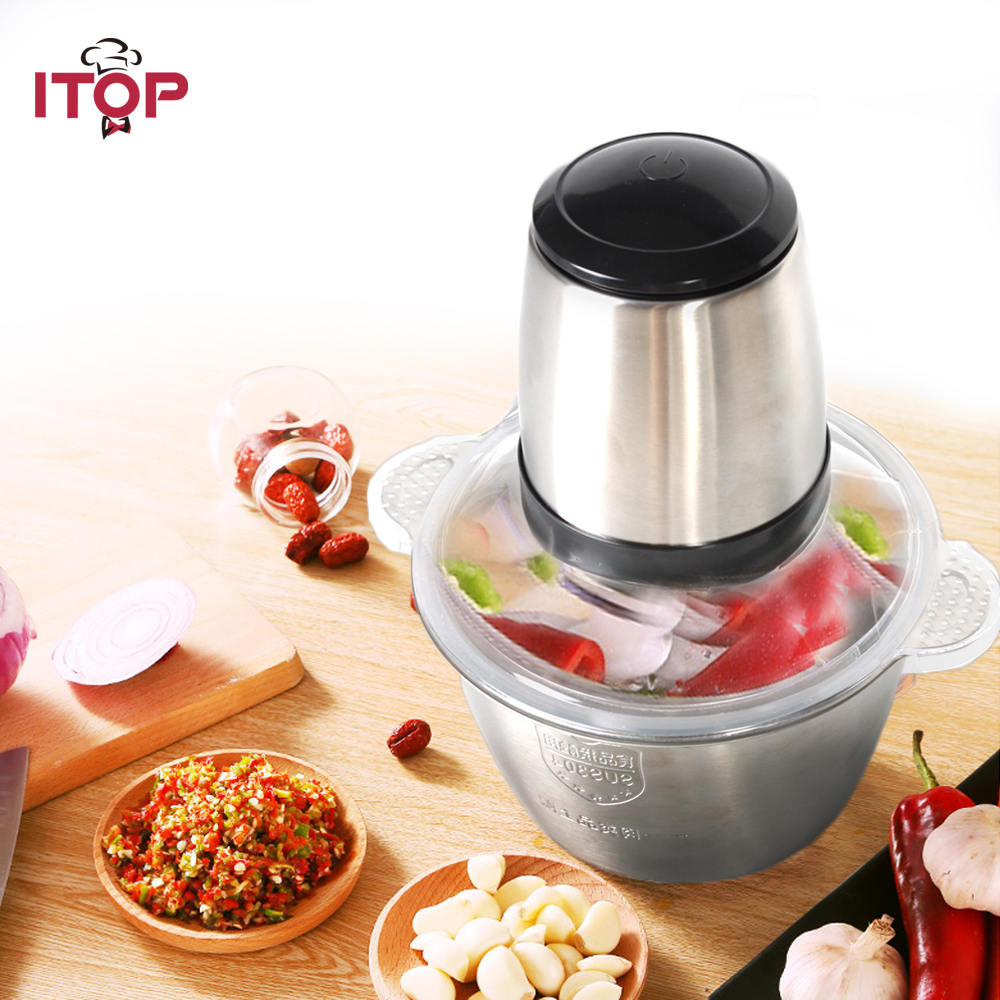 ITOP Household Mini Meat Grinder with 2L Stainless Steel Bowl Meat Chopper Mincing Machine no 5 small household manual meat grinder aluminium alloy body with stainless steel blade