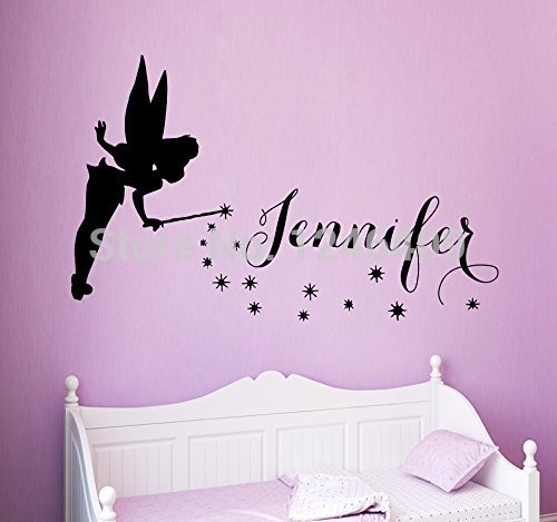 Wall Vinyl Decal Sticker Children Kids Room Bedding Home Decor Charming Fairy Tinkerbell Girl Custom Personalized