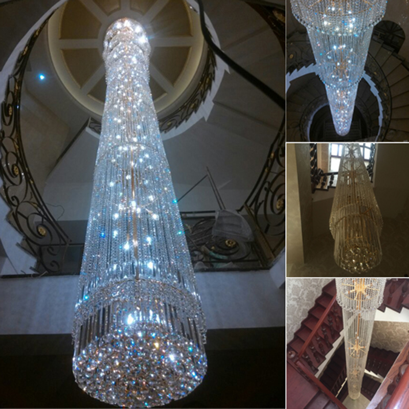 Contemporary Crystal Chandelier Spiral Staircase Lamp