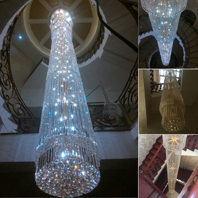 contemporary Crystal Chandelier spiral staircase lamp duplex villas long the Houselarge crystal lighting chandelier living room